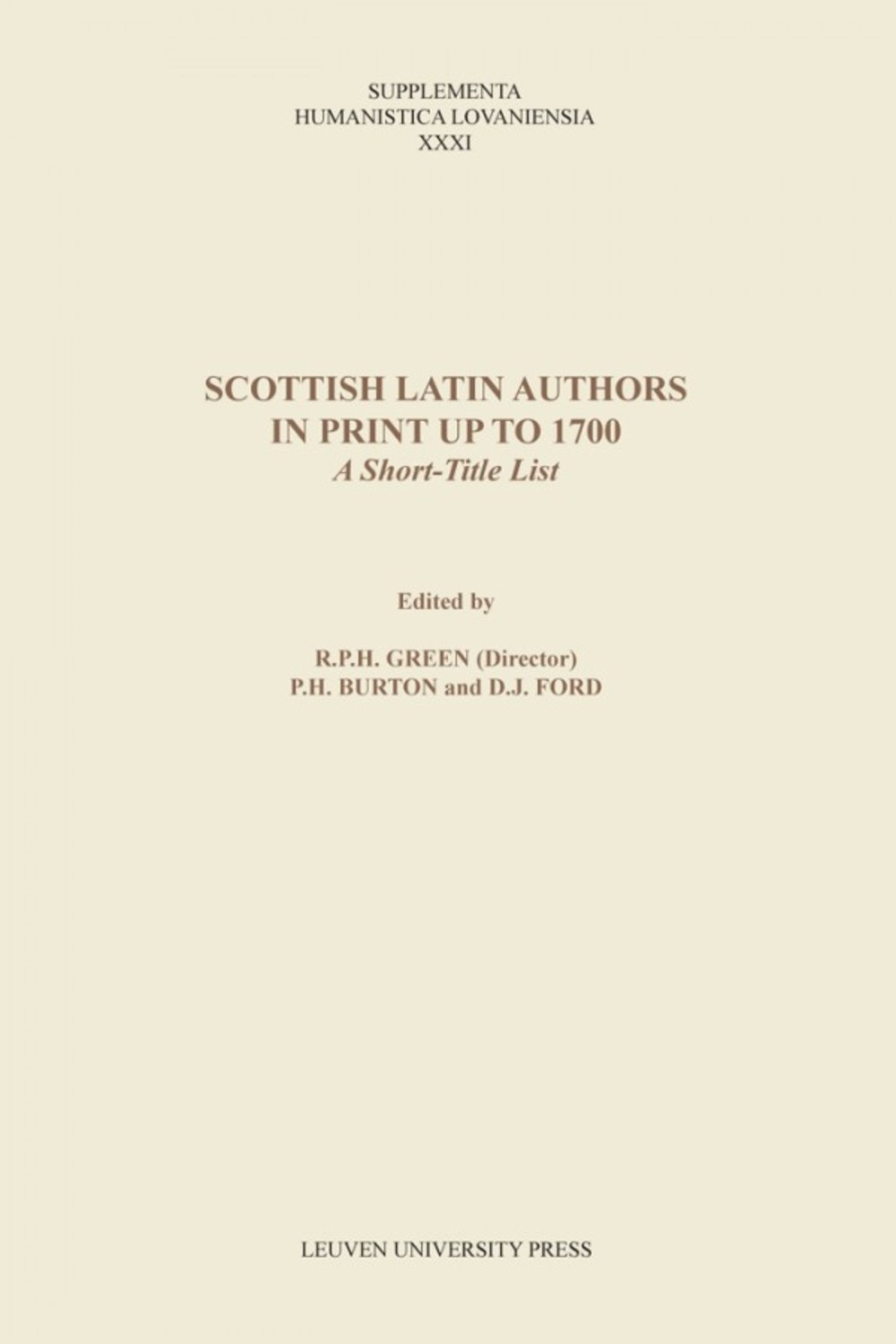 Scottish Latin Authors in Print up to 1700