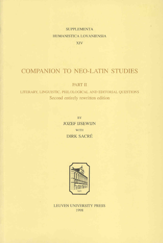 Companion to Neo-Latin Studies